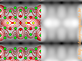 Calculated STM-image of Pt-induced nanowires on a Ge(001) surface. Simulated bias is -1.5V. Countours and atomic positions were also added by the HIVE-STM program.