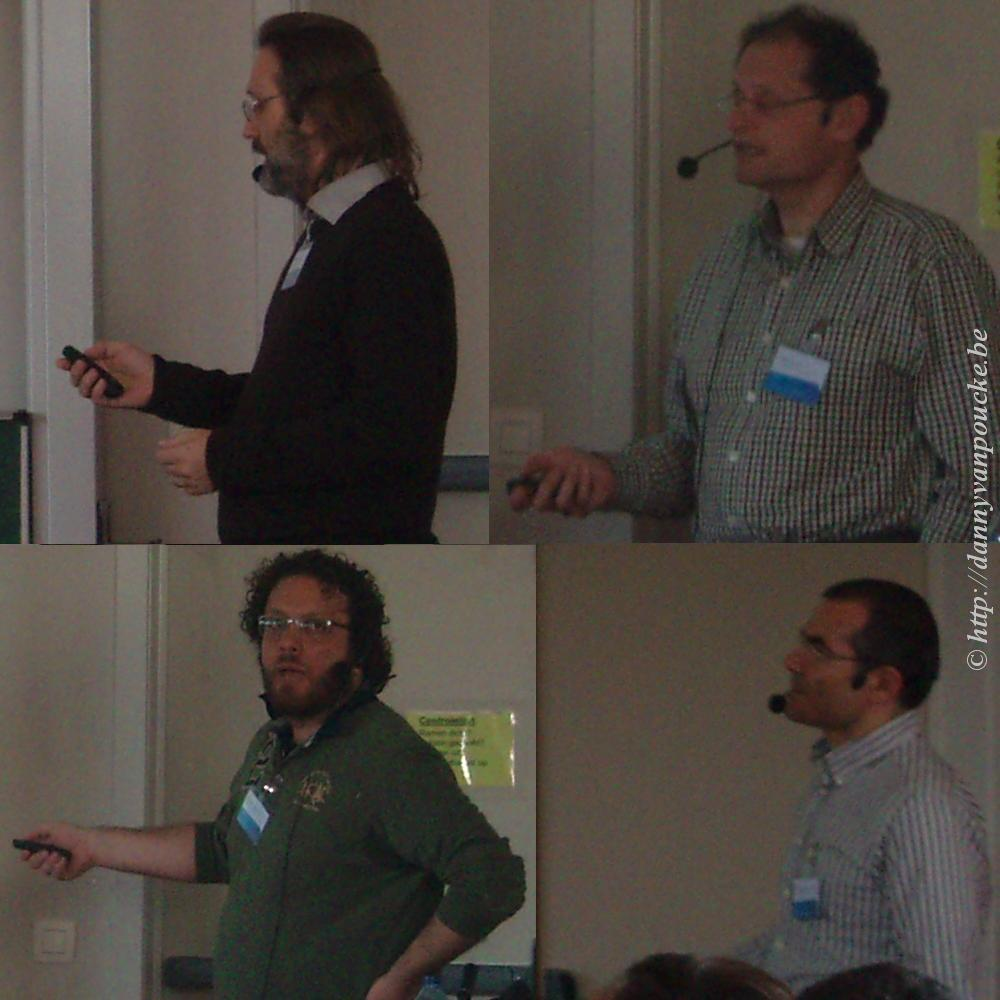 Guests from the VASP (Martijn Marsman, top left) and ABINIT group (Xavier Gonze, top right, Matteo Giantomassi, bottom left, Gian-Marco Rignanese, bottom right)