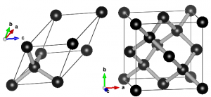 Ball-and-stick representation of diamond.