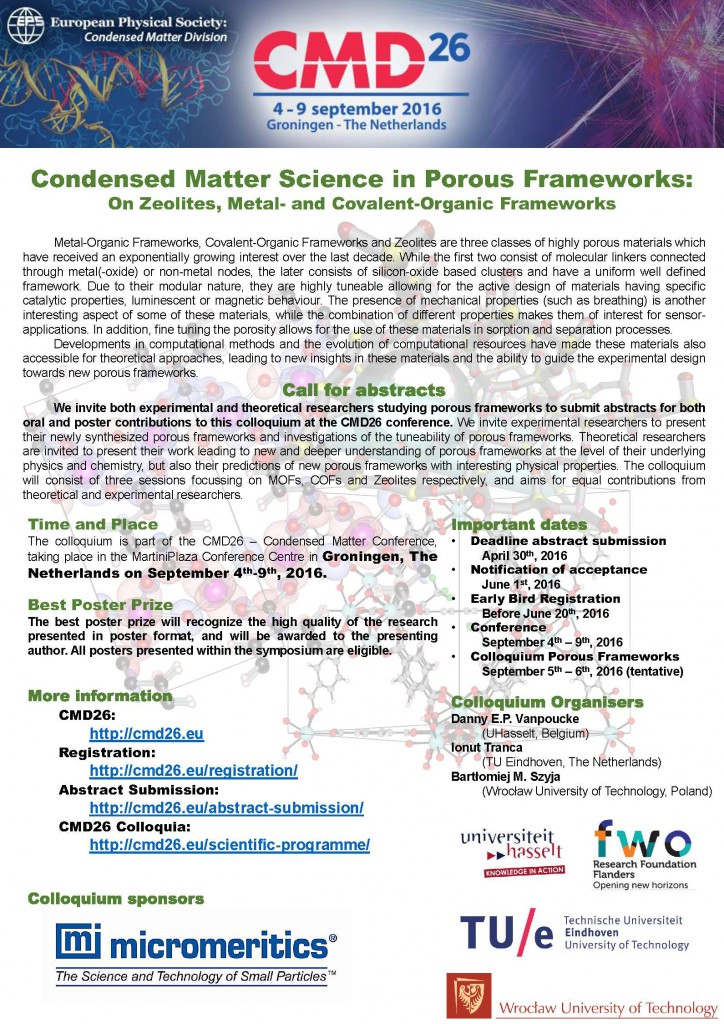 Flyer for the Colloquium on Porous Frameworks at the CMD26
