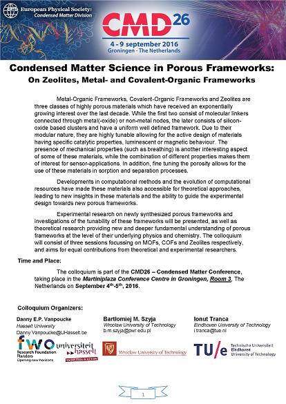 Program Porous Frameworks Colloquium