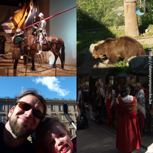 Visit to Stockholm. The knight at the Medeltidsmuseet (top left), brown bear in Skansen (top right), visiting the Royal palace (bottom left) and local entertainment in the old city center (bottom right).