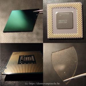 Diamond and CPU's, now still separated, but how much longer will this remain the case? Top left: Thin film N-doped diamond on Si (courtesy of Sankaran Kamatchi). Top right: Very old Pentium 1 CPU from 1993 (100MHz), with µm architecture. Bottom left: more recent intel core CPU (3GHz) of 2006 with nm scale architecture. Bottom right: Piece of single crystal diamond. A possible alternative for silicon, with 20x higher thermal conductivity, and 7x higher mobility of charge carriers.