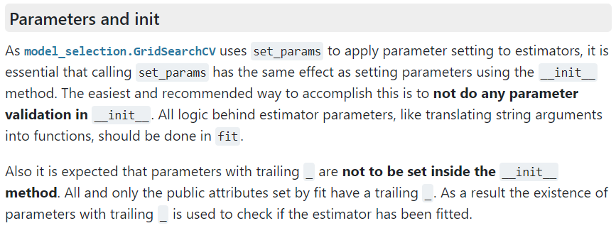 Scikit-learn manual section of parameter initialization of classes